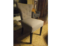 Fabulous set of 6 stone colour dining room chairs ** AS NEW **