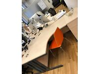 8 x Eight Corner Desks Tables Office Furniture Wooden Metal Legs
