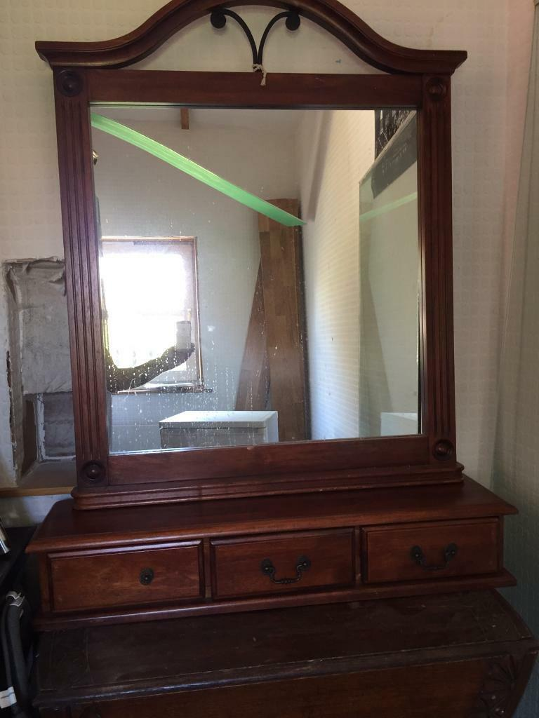 Antique mirror with drawers