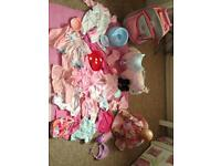 Baby born doll , horse, suitcase and clothes/accessories