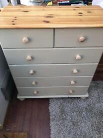 Shabby chic pine chest if draws