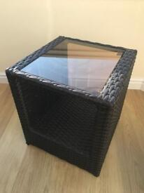 Rattan, lamp table, dark brown