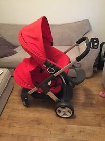 STOKKE Crousi Red double/single pram for sale with car seat