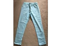 Pastel mint colour girls jeans