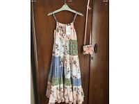 NEXT girls patchwork maxi dress & matching bag age 8 NEW WITH TAGS