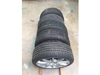 """17"""" multi fit 4x100/108 Ford/Renault/Citreon Alloys with 205/40ZR17 Tyres"""