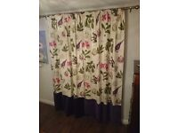 Pair of Sanderson Capuchin curtains in Boysenberry colour with velvet trim