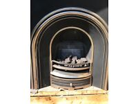 Victorian cast iron fireplace insert complete with gas fire and coals