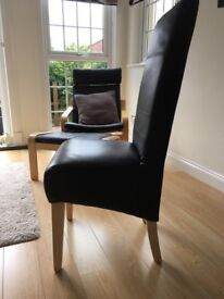 Black Real Leather Dining Chairs x8