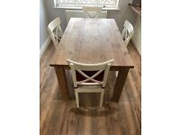 Antique pine dining table and 4 chairs / furniture /rustic