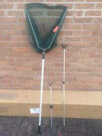 Fishing landing net and rod rests