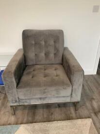 Grey velvet armchair