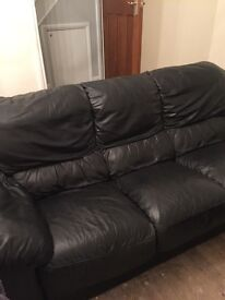Black real leather 3 seater 2 seater & armchair