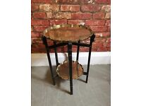 VINTAGE Wooden and Brass Folding Oriental Table