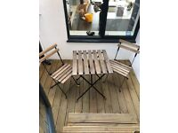 TARNO ikea bistro set 2 chairs and table wooden and metal frame