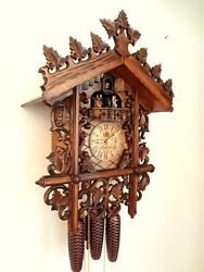 cuckoo clock hettich black forest 8 day original german  music wood