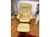 Leather Swivel Chair & Stool