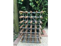 Wooden and metal wine rack for 28 bottles
