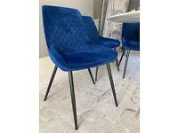 4 Next blue velvet dining chairs, Hamilton range