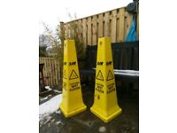 "2 X 90 CM HIGH SIR SHOP / OFFICE "" CAUTION WET FLOOR"" SIGNS / CONES"