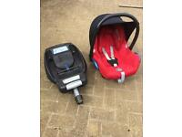 Red Maxi-Cosi Cabriofix Car Seat and EasyFix Isofix Base