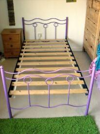 Purple metal single bed