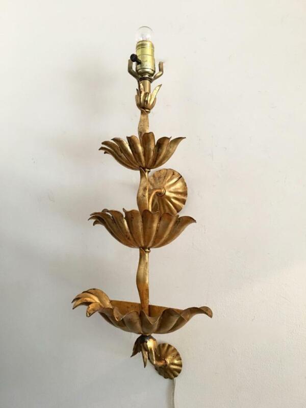 ANTIQUE VTG ITALIAN GOLD GILT METAL TOLE  WALL POCKET PLANTER SCONCE LAMP