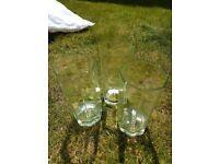 Set of three glass tumblers