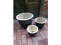 3 OLIVE GREEN terracotta garden pots, all in good condition