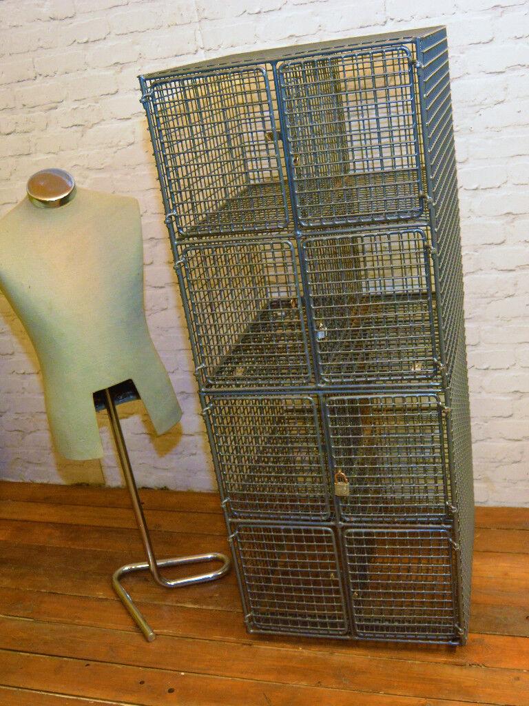 Galvanised wire metal caged 8 door locker vintage industrial antique storage cabinet bedroom kitchen