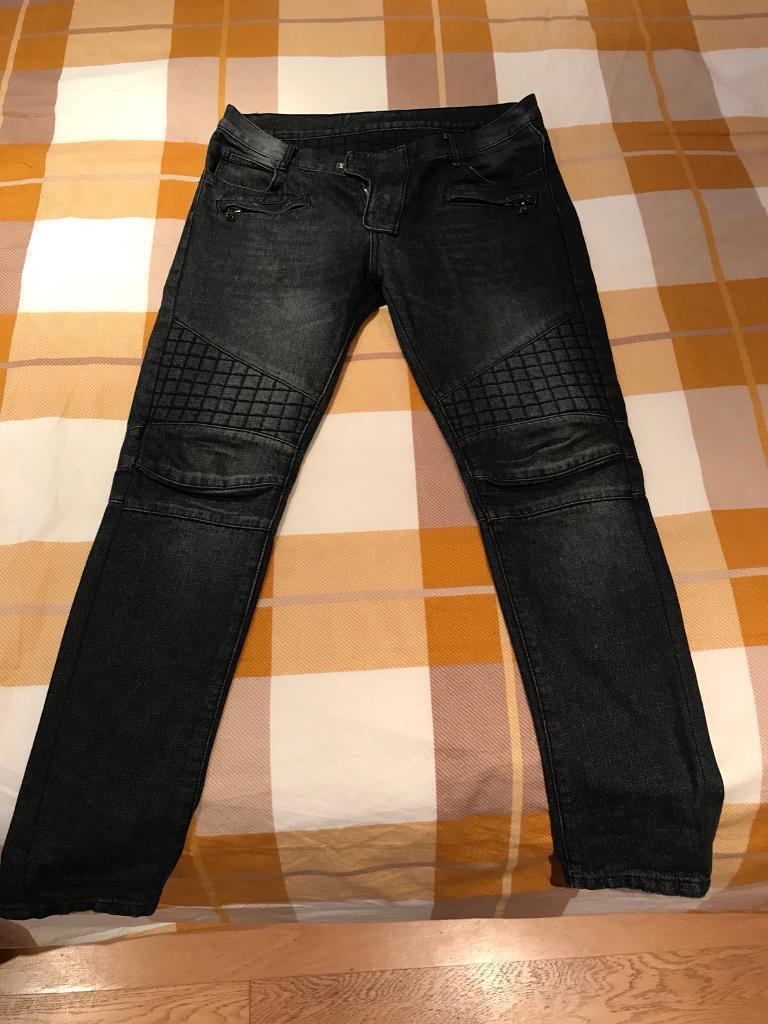 Mens Balmain Biker Jeans Black 34w Tapered Leg In Hoddesdon Ripped Faded