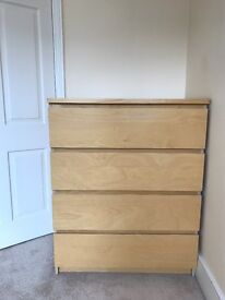 Ikea malm chest of 4 drawers in very good condition
