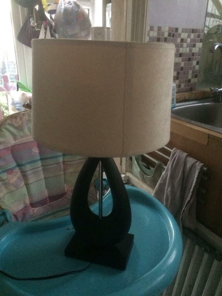 Attractive large black wood side lamp & cream shade