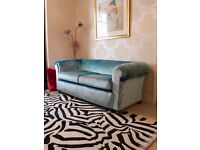 ANTIQUE EDWARDIAN CHESTERFIELD SOFA IN DESIGNERS GUILD FABRIC