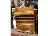 Pine Rustic Farmhouse Wine Rack Display Unit - Cabinet - Kitchen - Dining Room