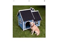 Huge luxury blue dog kennel with roof and chimney, only been used inside