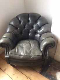 Vintage leather chair - Green leather