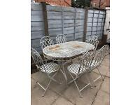 Iron large garden table and chairs