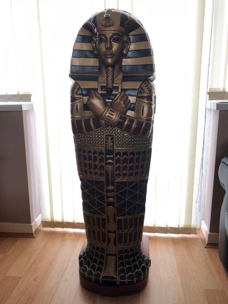Egyptian Tutankhhamun Sarcophagus Storage Cabinet 4 Foot Tall Rox