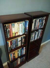 Two identical solid mahogonay CD/DVD/Book Shelves