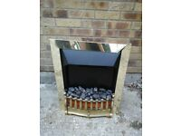 Coal electric fire with gold surround and front (A)
