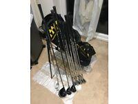 Full Set, Nike slingshot cavity back irons, Nike SQ driver, Gauge Design woods, putter, cougar bag.