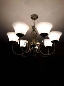 7 LIGHT CHANDELIER ANTIQUE BRASS EXCELLENT CONDITION