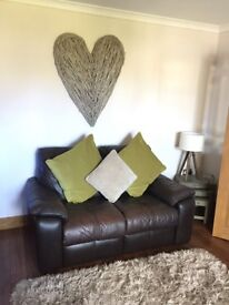 Real leather 2 + 3 seater sofas for sale