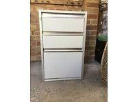 Grey three drawer filling cabinet