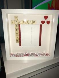 Valentines handmade scrabble frame.. swipe to see more —->