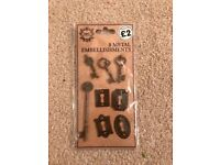 Metal embellishments, Keys and locks, for craft use only, new, for free