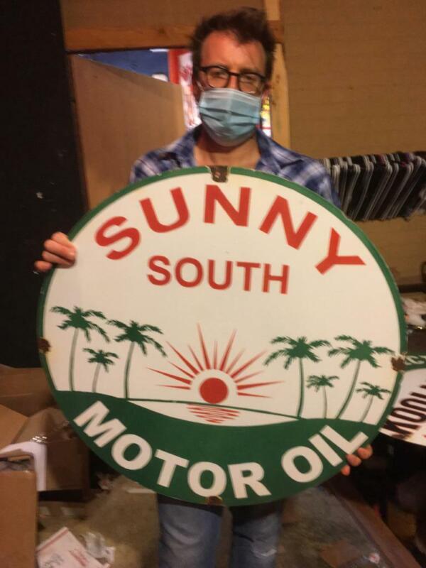 sunny south gas tire beer motor gasoline oil dealer porcelain sign MAKE AN OFFER