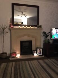Gas fire, surround and hearth, backplate.