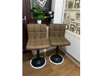 Bar stools x 2, antique leather look, NEW